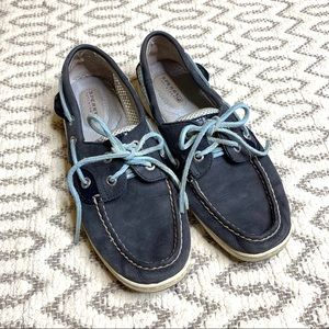 Sperry Blue Leather Boat Shoes womens size 6